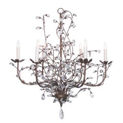 Playful Italian 1970s Six-Arm Chandelier Adorned with Crystal Foliate Tendrils