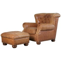 Tufted Leather Armchair and Ottoman in the Style of Ralph Lauren