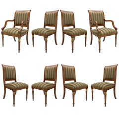 Set of Eight Green Striped Provasi Dining Room Chairs