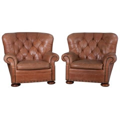 Pair of Tufted Leather Armchairs the Style of Ralph Lauren