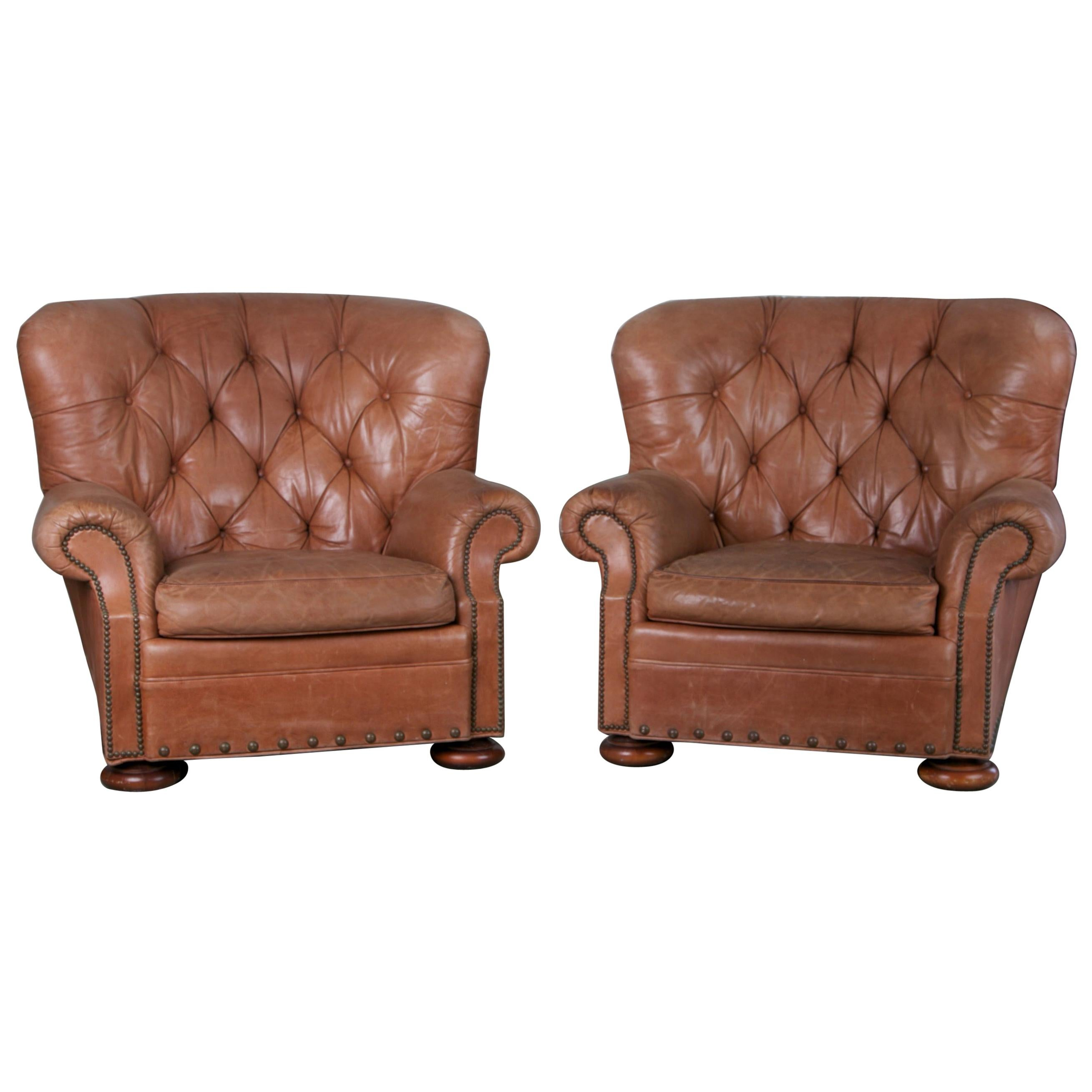 Pair Of Tufted Leather Armchairs The Style Of Ralph Lauren For Sale