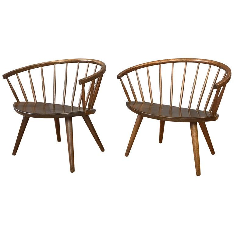 "Pair of Yngve Ekström Oak ""Arka"" Chairs for Stolab"