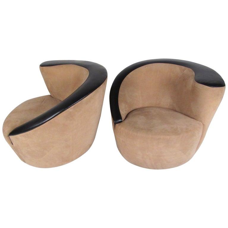 Pair of Vladimir Kagan Corkscrew Swivel Chairs for Directional