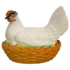 Staffordshire Hen on Nest or Basket Tureen from 19th Century, England