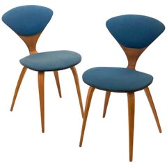 Pair of Iconic Cherner Chairs by Plycraft in Walnut and Fabric