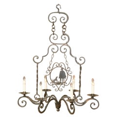Early 20th Century French Iron Six-Light Chandelier with Shepherd and Dog