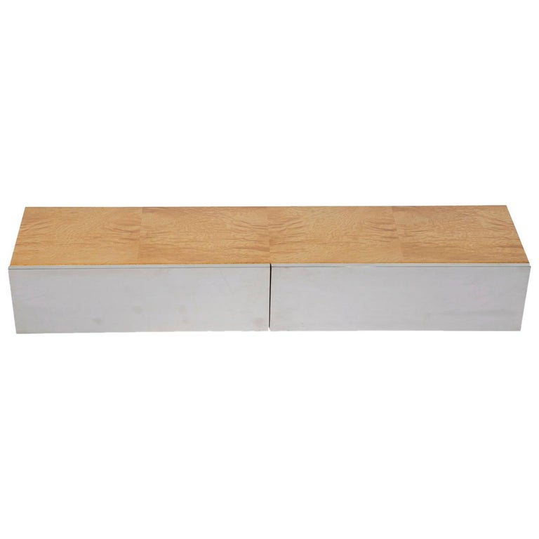 Leon Rosen for Pace Collection Burl Wood Wall Mount Floating Shelf, circa 1970