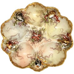Antique French Limoges Oyster Plate Made for Tressemanes & Vogt, circa 1880