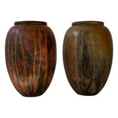 Pair of  Art Deco Patinated Bronze Vases