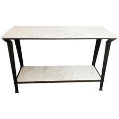 Steel and Carrara Marble Console Table