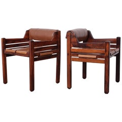 Set of Four Jean Gillon Rosewood and Leather Armchairs