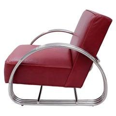 Ralph Lauren Hudson Street Lounge Chair in Burgundy Red Leather