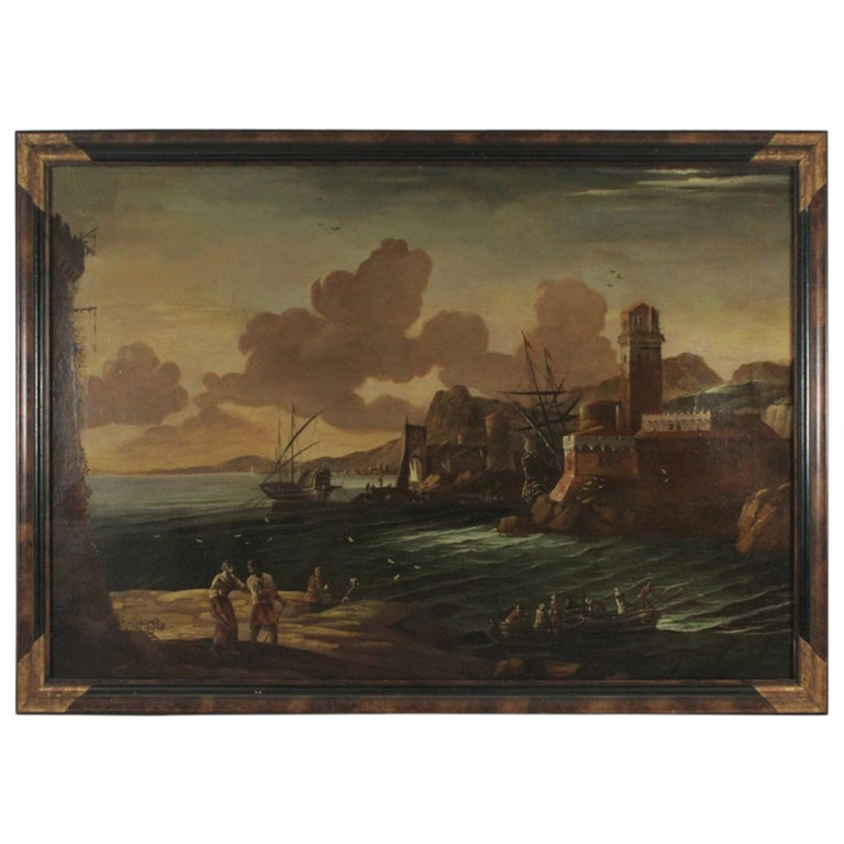 """Large Oil on Canvas in the Manner of Claude Lorrain """"View of Naples Harbor"""""""