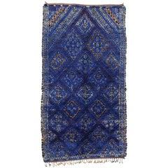 Vintage Blue Indigo Beni M'Guild Moroccan Rug, Berber Blue Moroccan Rug