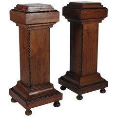 Midcentury Pair of Walnut Wood Pedestals with Ebonized Highlights