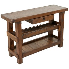 Early 20th Century French Oak Workbench, Console, or Sofa Table with Wine Rack