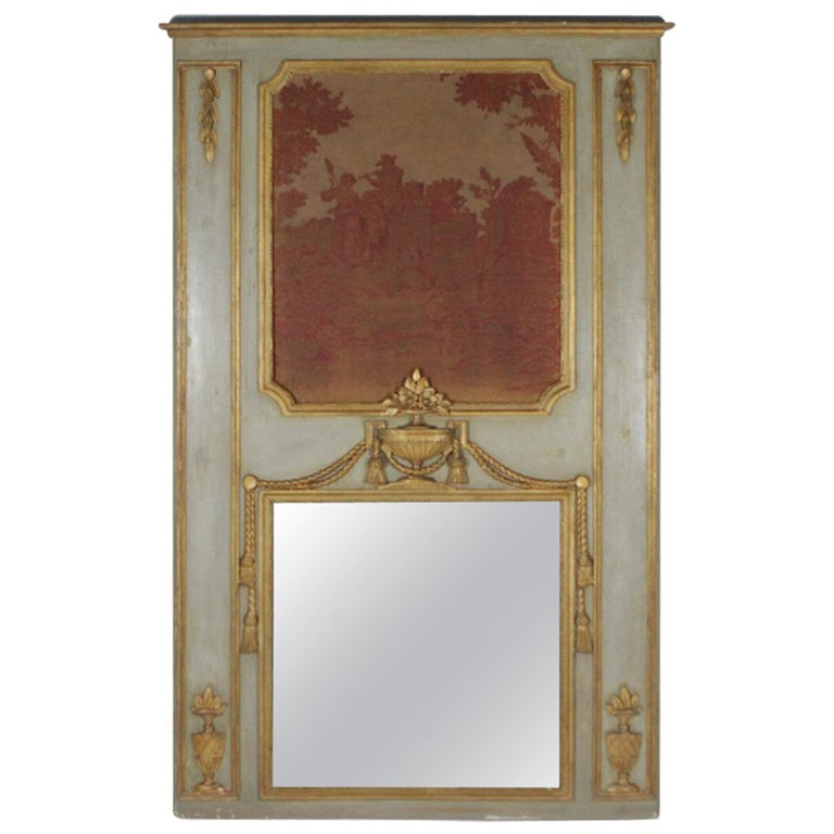 Painted and Parcel-Gilt Trumeau Mirror, 19th Century