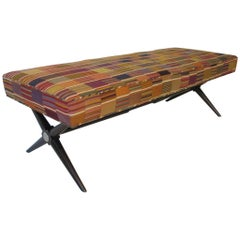 Stunning Ebony X-Based Bench with Handloomed Fabric