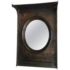 Custom Industrial Gunmetal Steel Entryway Foyer Mirror