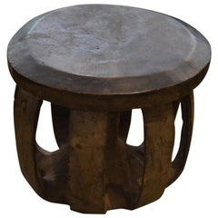 African Mahogany Wood Side Table or Stool