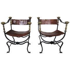 Pair of Bronze Wrought Iron and Leather Chairs