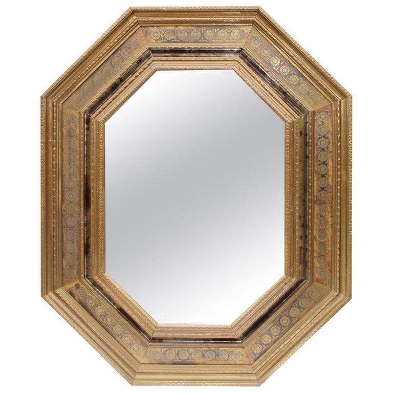 1950s Tin Brass Octagonal Mirror from Spain