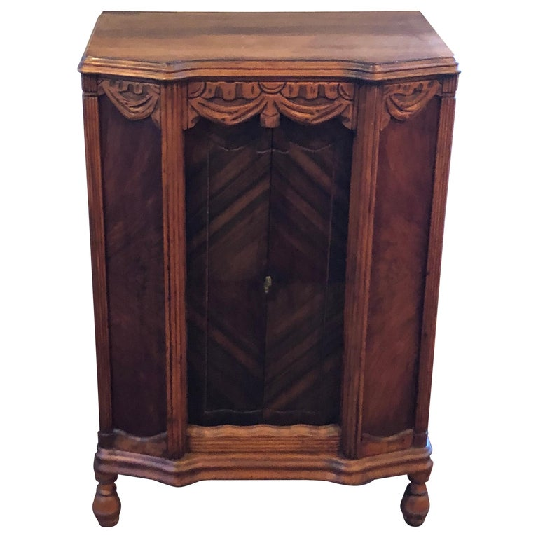 Carved Antique Wooden Cabinet or Bookcase For Sale