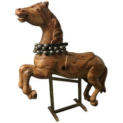 Vintage Wood Carousel Horse With Bells and Brass Stand