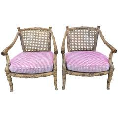 Paar Sessel geschnitzten hölzernen Faux Bois