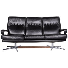 Strässle King Designer Leather Sofa Black Three-Seat Couch