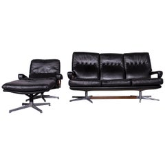 Strässle King Designer Black Leather Set: Armchair, Footstool, Three-Seat Couch