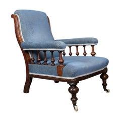 Antique Armchair, English, Victorian, Club Chair, Walnut, Blue, circa 1880