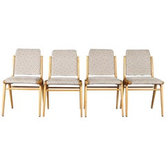 Midcentury Beech Dining Chairs, Franz Schuster for Wiesner-Hager, Set of Four