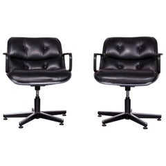 Knoll International Executive Chai Leather Armchair Set Black Chair