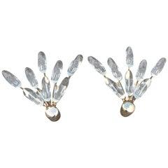 Pair of Sconces Stilkronen Design Gold Plated Crystal Italian Design, 1970