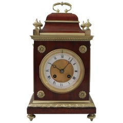 French Belle Epoque Mahogany Mantel Clock with Side Viewing Windows