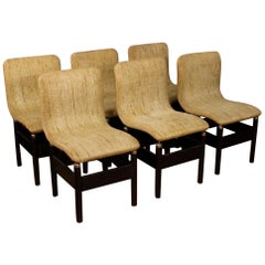 Vittorio Introini 20th Century Fabric and Wood Italian Six Design Chairs, 1980