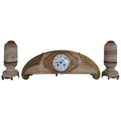 Onyx Art Deco Clockset