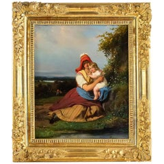 """Gué Julien Michel, Oil on Canvas """"Femme À L'enfant"""" French Romantic Period"""
