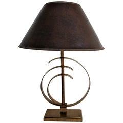 Vintage Brass Elliptical Table Lamp, 1970