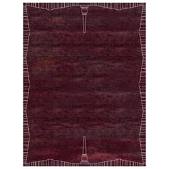 Roma Amaranto Contemporary Handcrafted Wool and Silk Large Rug by Mike Shilov