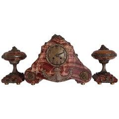 Art Deco Clockset Marble and Bronze
