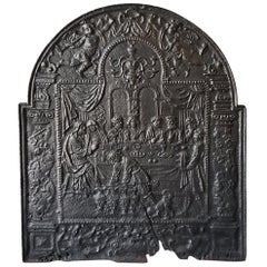 Large 18th Century Fireplace Back Plate with a Royal Scene