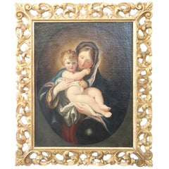 17th Century Italian Oil Painting on Canvas Madonna and Child with Gilded Frame