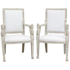 Late 19th Century French Pair of White Painted Egyptian Revival Armchairs