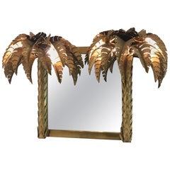 Illuminated Brass Palm Tree Mirror