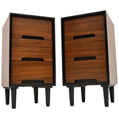 1950s Pair of Walnut Bedside Chests by John & Sylvia Reid for Stag