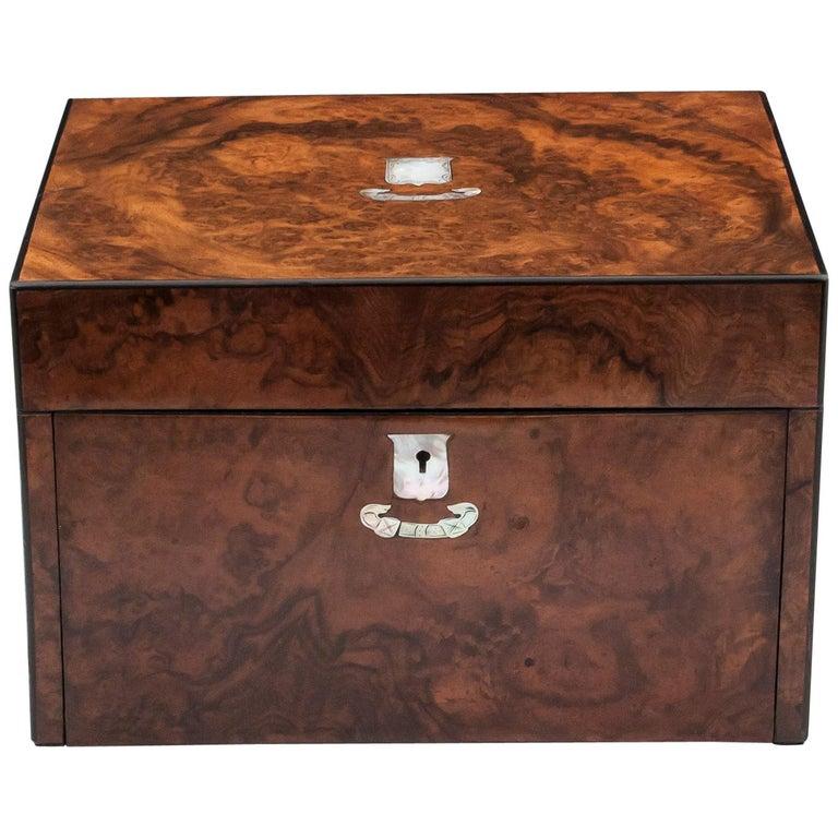 Antique Burr Walnut Jewelry Box, 19th Century