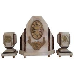 Art Deco Mantel Clock and Cups