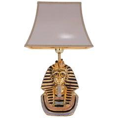 Tutankhamun Lamp Painted and Gilt Ceramic, Italian, , circa 1970s